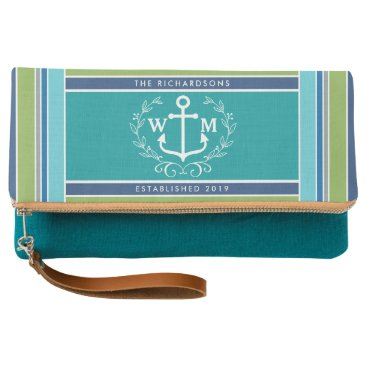 Beach Themed Trendy Monogram Anchor Laurel Wreath Stripes Aqua Clutch
