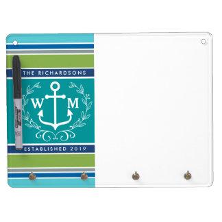 Trendy Monogram Anchor Laurel Wreath Stripes Aqua Dry Erase Board With Keychain Holder