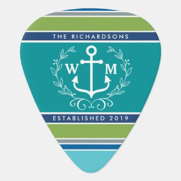 Beach Themed Trendy Monogram Anchor Laurel Wreath Stripes Aqua Guitar Pick