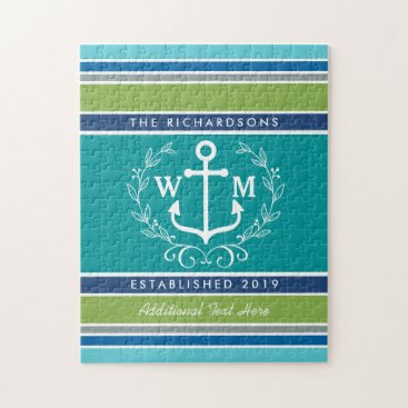 Beach Themed Trendy Monogram Anchor Laurel Wreath Stripes Aqua Jigsaw Puzzle