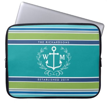 Beach Themed Trendy Monogram Anchor Laurel Wreath Stripes Aqua Laptop Sleeve