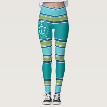 Beach Themed Trendy Monogram Anchor Laurel Wreath Stripes Aqua Leggings