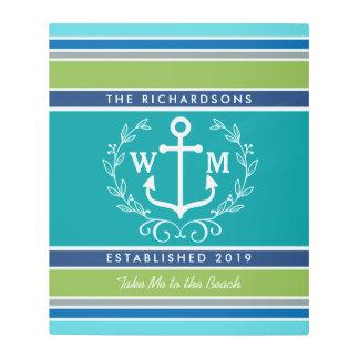 Trendy Monogram Anchor Laurel Wreath Stripes Aqua Metal Print
