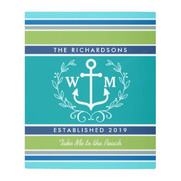 Beach Themed Trendy Monogram Anchor Laurel Wreath Stripes Aqua Metal Print