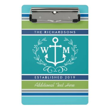 Beach Themed Trendy Monogram Anchor Laurel Wreath Stripes Aqua Mini Clipboard