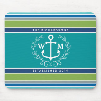 Trendy Monogram Anchor Laurel Wreath Stripes Aqua Mouse Pad