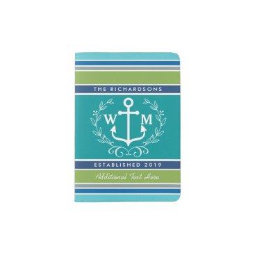 Beach Themed Trendy Monogram Anchor Laurel Wreath Stripes Aqua Passport Holder