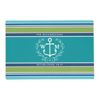 Trendy Monogram Anchor Laurel Wreath Stripes Aqua Placemat