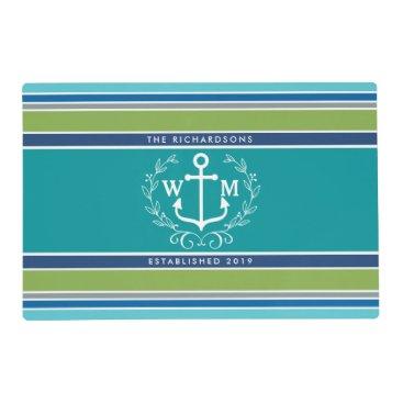 Beach Themed Trendy Monogram Anchor Laurel Wreath Stripes Aqua Placemat