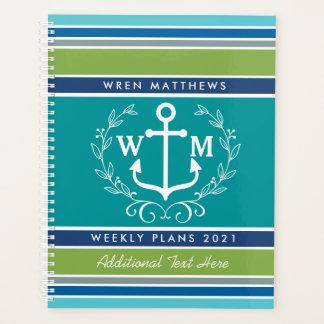 Trendy Monogram Anchor Laurel Wreath Stripes Aqua Planner
