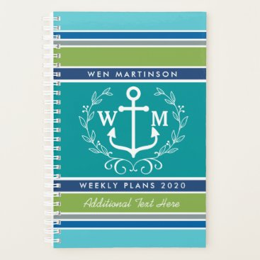 Beach Themed Trendy Monogram Anchor Laurel Wreath Stripes Aqua Planner