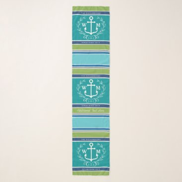 Beach Themed Trendy Monogram Anchor Laurel Wreath Stripes Aqua Scarf