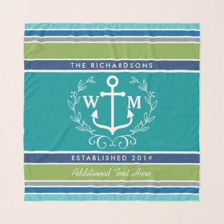 Trendy Monogram Anchor Laurel Wreath Stripes Aqua Scarf