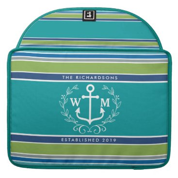 Beach Themed Trendy Monogram Anchor Laurel Wreath Stripes Aqua Sleeve For MacBook Pro