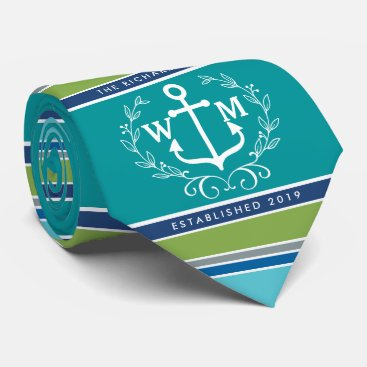 Beach Themed Trendy Monogram Anchor Laurel Wreath Stripes Aqua Tie