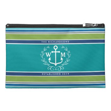 Beach Themed Trendy Monogram Anchor Laurel Wreath Stripes Aqua Travel Accessory Bag