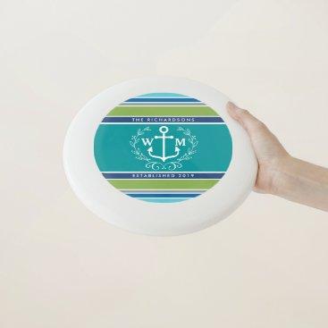 Beach Themed Trendy Monogram Anchor Laurel Wreath Stripes Aqua Wham-O Frisbee