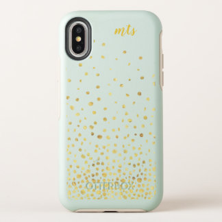 Trendy Monogram Chic Glitter Gold Protective Phone OtterBox Symmetry iPhone X Case