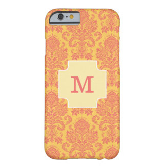 Trendy Monogram Coral Damask And Sun Custom Barely There iPhone 6 Case