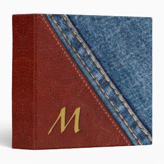 Trendy Monogram Denim and Leather Binder