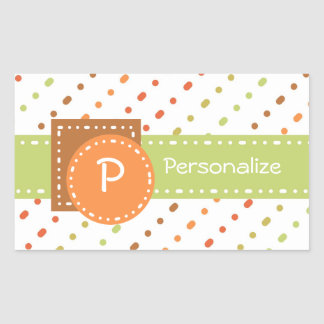 Trendy Monogram Dotted Stripes With Name Sticker