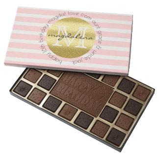 Trendy Monogram Gold Glitter Blush Pink Stripes 45 Piece Box Of Chocolates