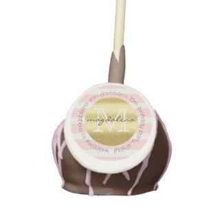 Trendy Monogram Gold Glitter Blush Pink Stripes Cake Pops