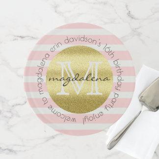 Trendy Monogram Gold Glitter Blush Pink Stripes Cake Stand