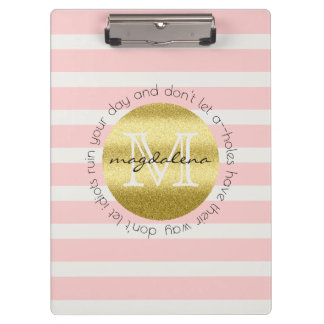 Trendy Monogram Gold Glitter Blush Pink Stripes Clipboard