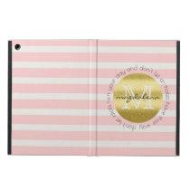 Trendy Monogram Gold Glitter Blush Pink Stripes iPad Air Cover