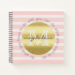 Trendy Monogram Gold Glitter Blush Pink Stripes Notebook
