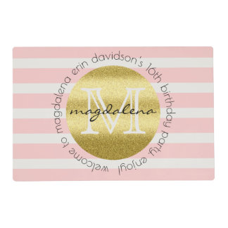 Trendy Monogram Gold Glitter Blush Pink Stripes Placemat