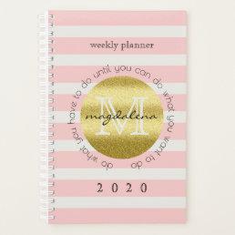 Trendy Monogram Gold Glitter Blush Pink Stripes Planner