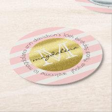 Trendy Monogram Gold Glitter Blush Pink Stripes Round Paper Coaster