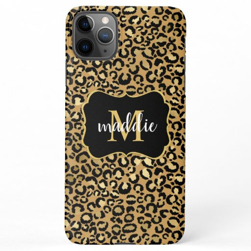 Trendy Monogram Gold Leopard Pattern Name iPhone 11Pro Max Case