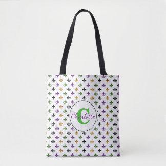 Trendy Monogram Mardi Gras Fleur De Lis Tote Bag