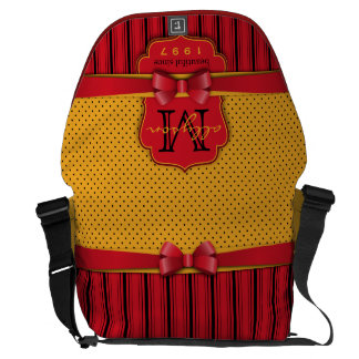 Trendy Monogram Retro Yellow Polka Dot Red Stripes Courier Bag