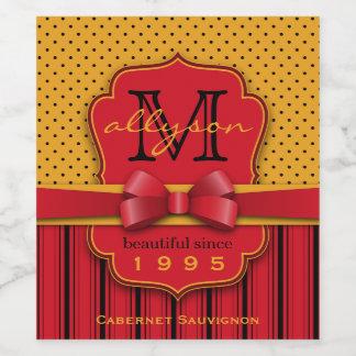 Trendy Monogram Retro Yellow Polka Dot Red Stripes Wine Label