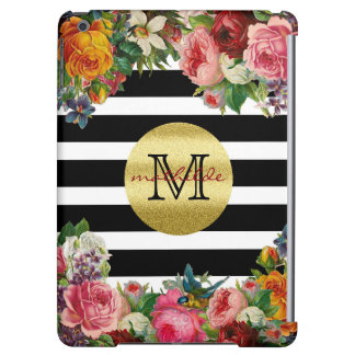 Trendy Monogram Stripes Roses Flowers Gold Glitter Cover For iPad Air