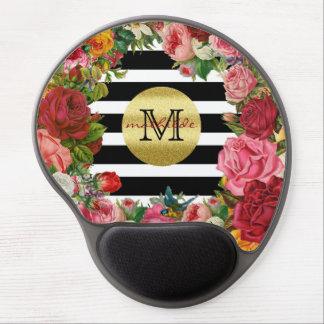 Trendy Monogram Stripes Roses Flowers Gold Glitter Gel Mouse Pad