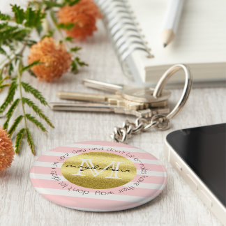 Trendy Monogram Stripes Roses Flowers Gold Glitter Keychain