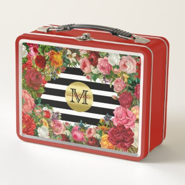 Wedding Themed Trendy Monogram Stripes Roses Flowers Gold Glitter Metal Lunch Box