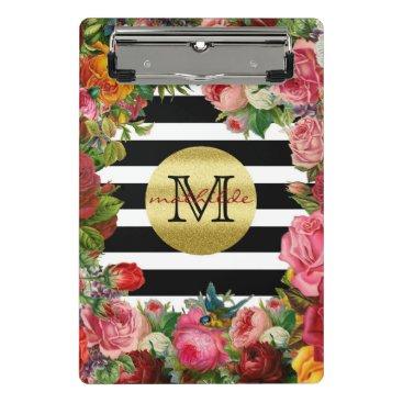 Wedding Themed Trendy Monogram Stripes Roses Flowers Gold Glitter Mini Clipboard