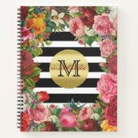 Trendy Monogram Stripes Roses Flowers Gold Glitter Notebook
