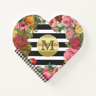 Trendy Monogram Stripes Roses Flowers Gold Glitter Notebook