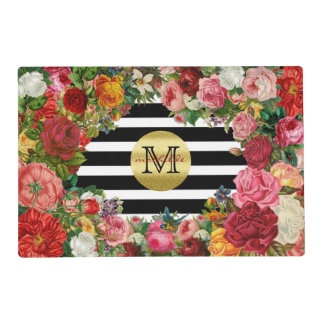 Trendy Monogram Stripes Roses Flowers Gold Glitter Placemat