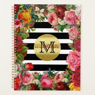 Wedding Themed Trendy Monogram Stripes Roses Flowers Gold Glitter Planner