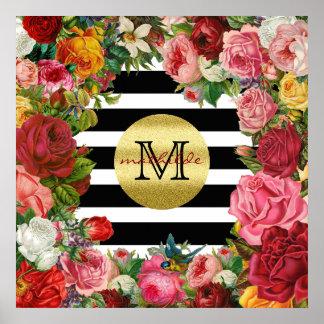Trendy Monogram Stripes Roses Flowers Gold Glitter Poster
