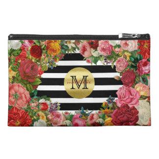Trendy Monogram Stripes Roses Flowers Gold Glitter Travel Accessories Bag
