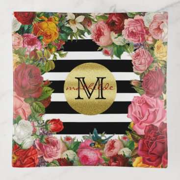 Wedding Themed Trendy Monogram Stripes Roses Flowers Gold Glitter Trinket Trays